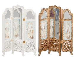 1:12 Scale JBM Miniature Ornate Mirrored Room Divider (White/Gold)
