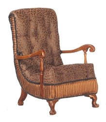 1:12 Scale JBM Miniature Vintage Art Deco Upholstered Walnut Armchair