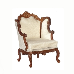 1:12 Scale JBM Miniature Parlour Fireside Winged Armchair & Ottoman Collection