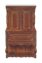 1:12 Scale JBM Miniature Walnut Gothic Chest on Stand