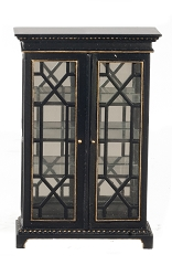 1:12 Scale JBM Miniature Art Deco Cabinet with Glass Doors (Black/Gold)