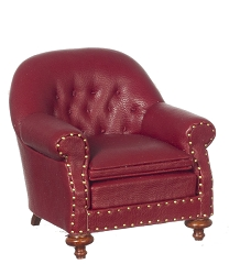 1:12 Scale JBM Miniature Red Leather & Walnut Club Chair