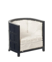 1:12 Scale JBM Miniature Art Deco Tub Chair - Black