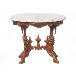 1:12 Scale Miniature Marble Top Walnut Pedestal Table