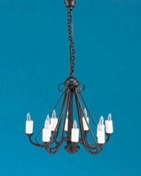 1:12 Scale Miniature House Miniature Black Wrought Iron Chandelier
