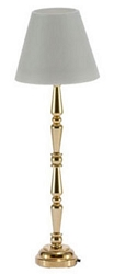 1:12 Scale Miniature House Miniature LED Brass Floor Lamp (Gold)