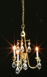 1:12 Scale Miniature House Miniature Gold & Crystal Ceiling Lamp
