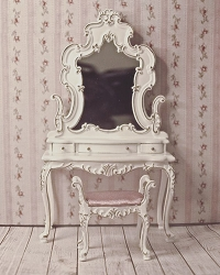 1:12 Scale Platinum Miniature Bourbon Bedroom Collection Dress Vanity & Stool (White)