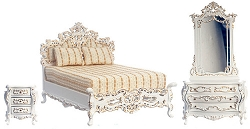 1:12 Scale Platinum Miniature H.P. Bourbon Bedroom Collection (White)