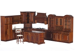 1:12 Scale Platinum Miniature Grand Manor Walnut Kitchen Collection
