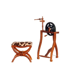 1:12 Scale Platinum Miniature Walnut Three-Legged Spinning Wheel & Stool