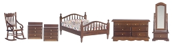 1:12 Scale Miniature 6pc. Classic Master Bedroom Set