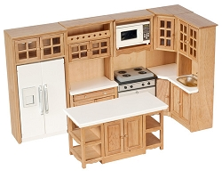 1:12 Scale Miniature Premium Kitchen Collection (Oak/White/Walnut/Marble Tops)