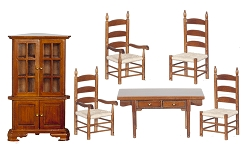 1:12 Scale Miniature 6-Piece Prairie Dining Room Collection