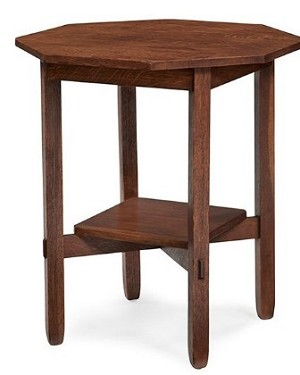 1:12 Scale JBM Miniature Mission Octagonal Walnut Side Table