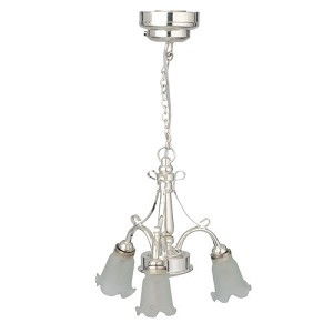 112 scale houseworks miniature led silver 3 arm down frosted tulip 112 scale houseworks miniature led silver 3 arm down frosted tulip chandelier aloadofball Choice Image