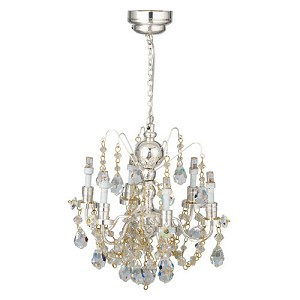 112 scale houseworks miniature led 6 arm silver crystal chandelier aloadofball Image collections
