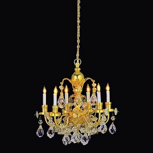 1:12 Scale Houseworks Miniature 6-Arm Brass Crystal Chandelier