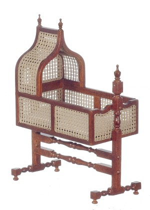 1:12 Scale JBM Miniature Jacobean Cane Walnut Crib