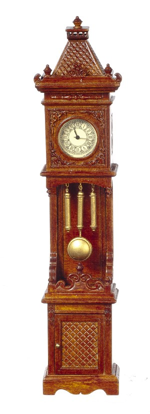 1:12 Scale JBM Miniature Gothic Style Walnut Grandfather Clock (Working)