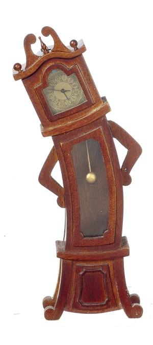 1:12 Scale JBM Miniature Wacky Wonky Walnut Grandfather Clock (Working)