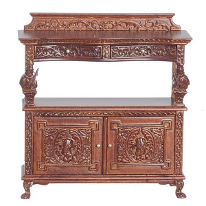 1:12 Scale JBM Miniature Fancy Walnut Buffet Table