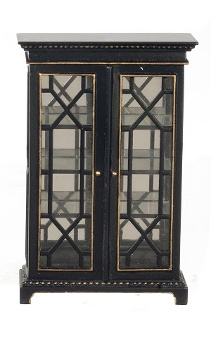 112 Scale Jbm Miniature Art Deco Cabinet With Glass Doors Blackgold
