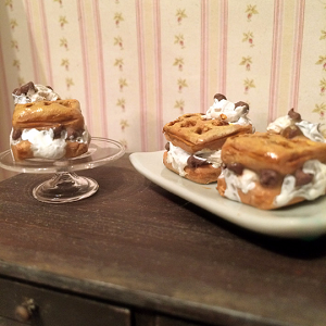 1:12 Scale Miniature Chocolate Chip Waffle Ice Cream Sandwich