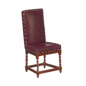 1:12 Scale JBM Miniature Leather & Walnut Side Chair - Red/Green